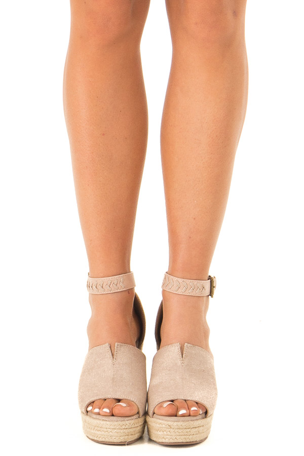 Champagne Open Toed Espadrille Wedge with Ankle Strap front view