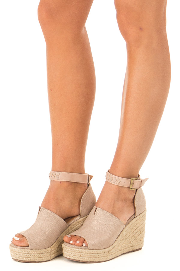 Champagne Open Toed Espadrille Wedge with Ankle Strap side view