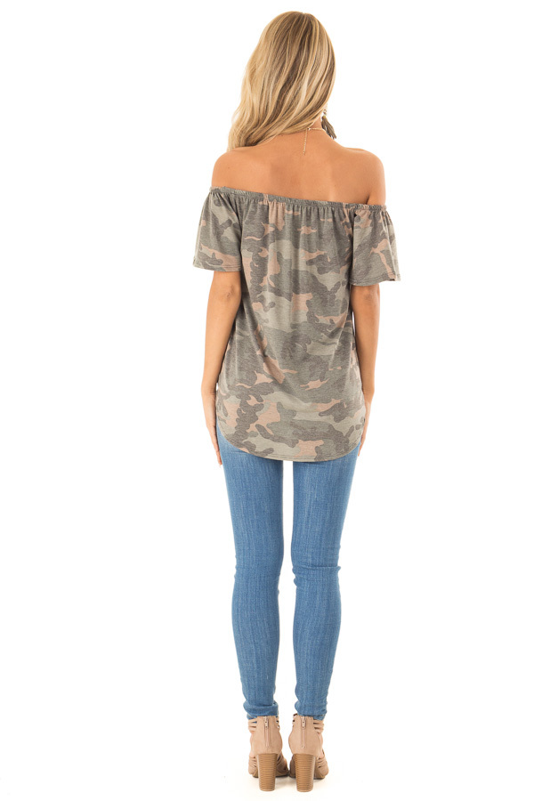 Army Green Camo Print Off Shoulder Top with Front Tie back full body