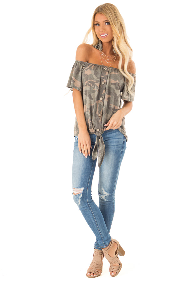 Army Green Camo Print Off Shoulder Top with Front Tie front full body