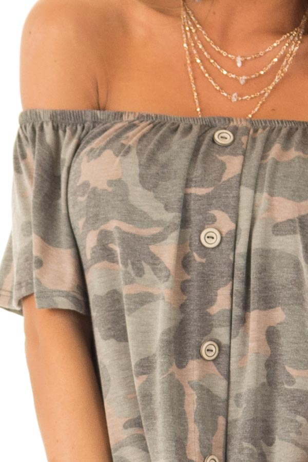 Army Green Camo Print Off Shoulder Top with Front Tie detail