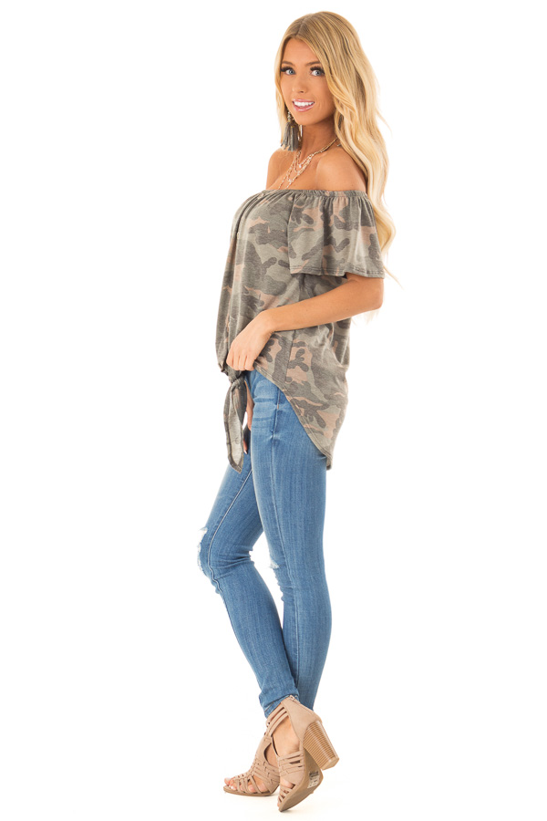 Army Green Camo Print Off Shoulder Top with Front Tie side full body