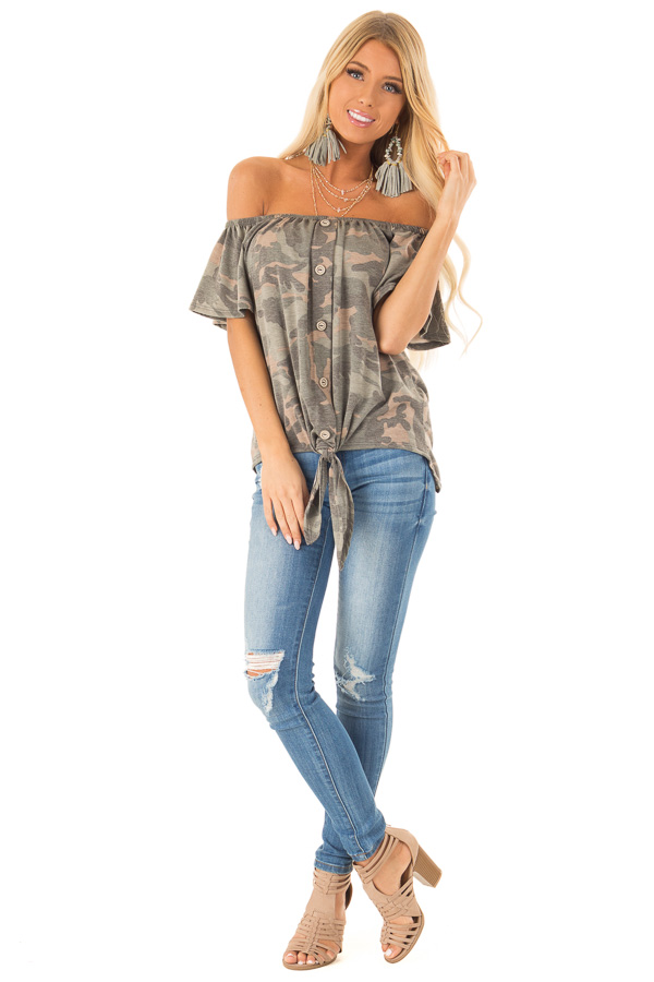 94af2890fdd86e Army Green Camo Print Off Shoulder Top with Front Tie front full body