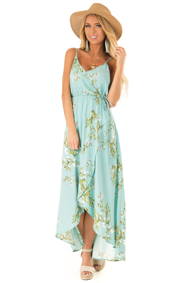 Sky Blue Floral Surplice Spaghetti Strap High Low Dress front full body