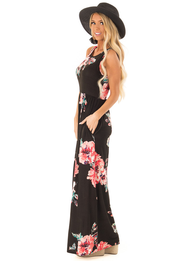 Jet Black Floral Print Tank Soft Maxi Dress with Pockets side full body
