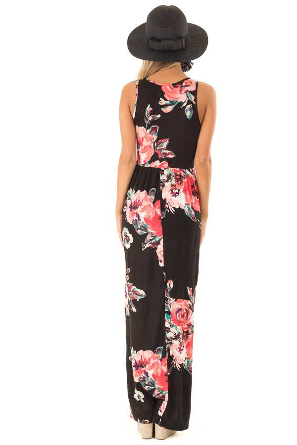 Jet Black Floral Print Tank Soft Maxi Dress with Pockets back full body