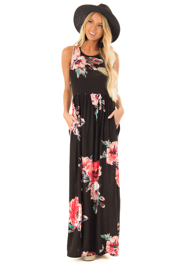 Jet Black Floral Print Tank Soft Maxi Dress with Pockets front full body