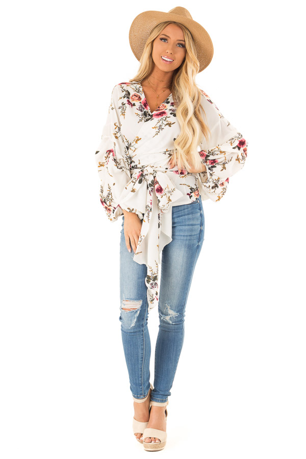 Ivory Floral Wrap Style Blouse with Long Cinched Sleeves front full body