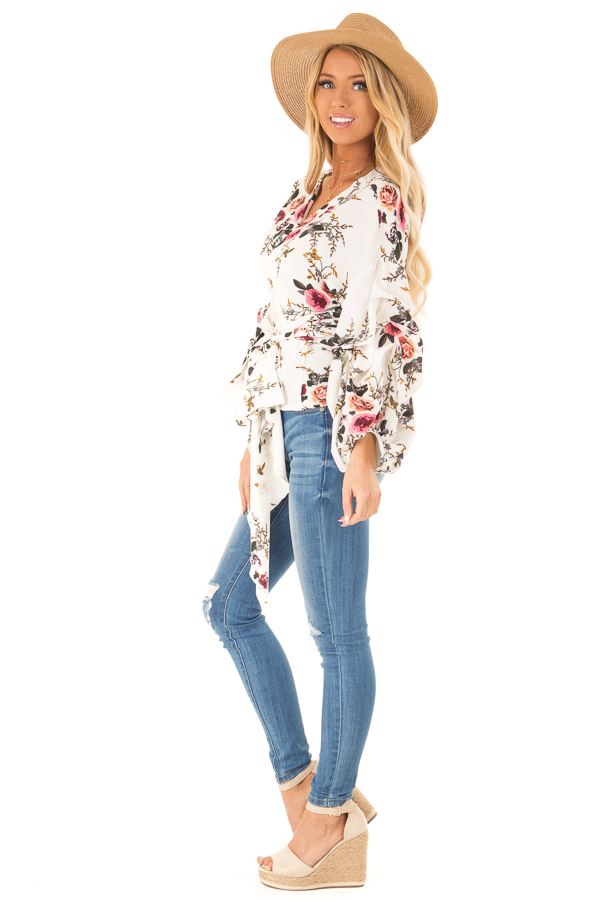 Ivory Floral Wrap Style Blouse with Long Cinched Sleeves side full body