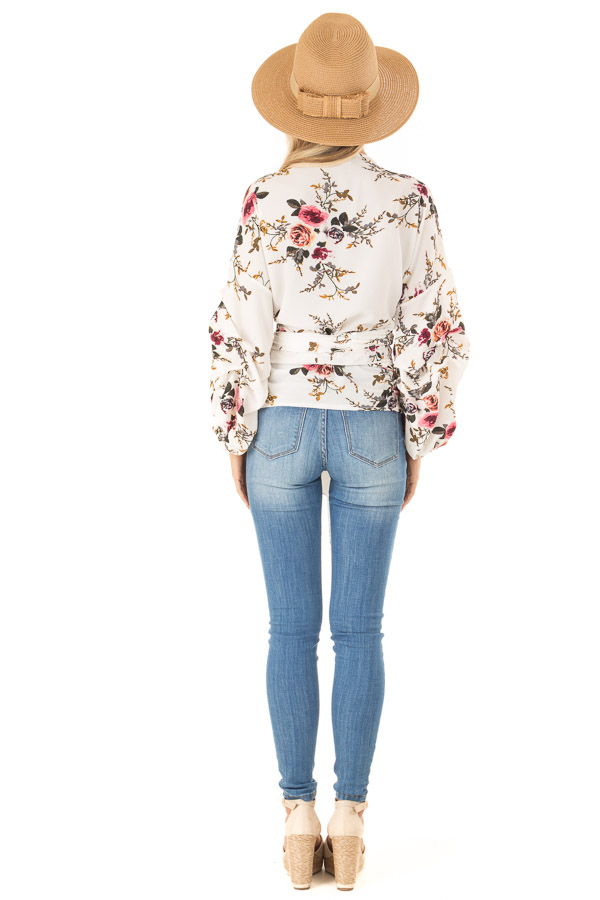 Ivory Floral Wrap Style Blouse with Long Cinched Sleeves back full body