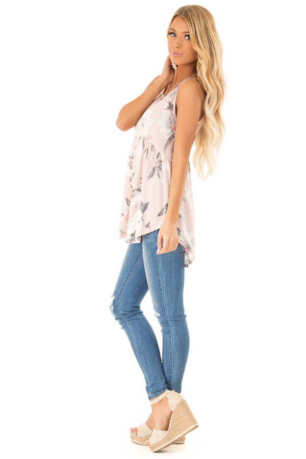 Pale Blush Pink Floral Super Soft Babydoll Tunic Tank Top side full body