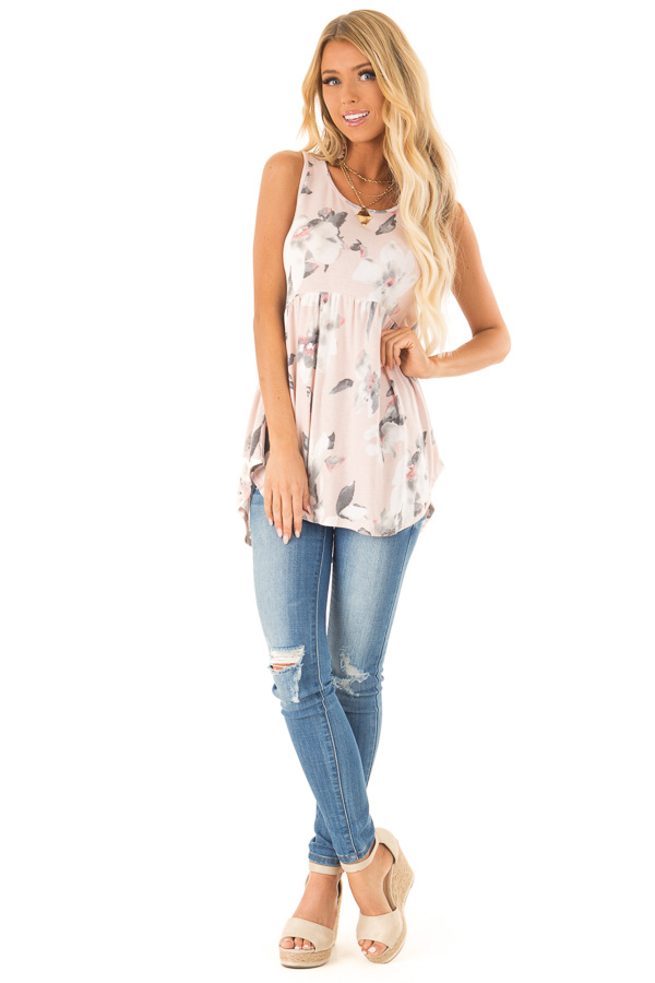 Pale Blush Pink Floral Super Soft Babydoll Tunic Tank Top front full body