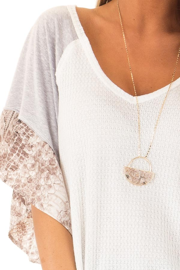 Daisy White Waffle Knit Top with Grey and Snakeskin Contrast detail
