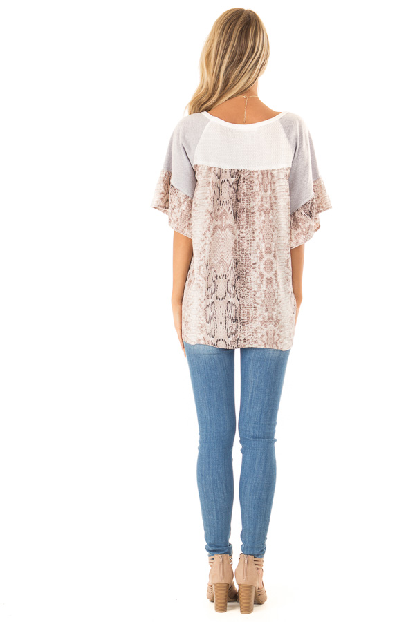Daisy White Waffle Knit Top with Grey and Snakeskin Contrast back full body