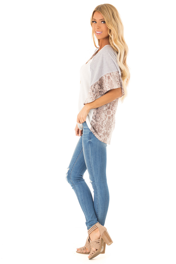 Daisy White Waffle Knit Top with Grey and Snakeskin Contrast side full body
