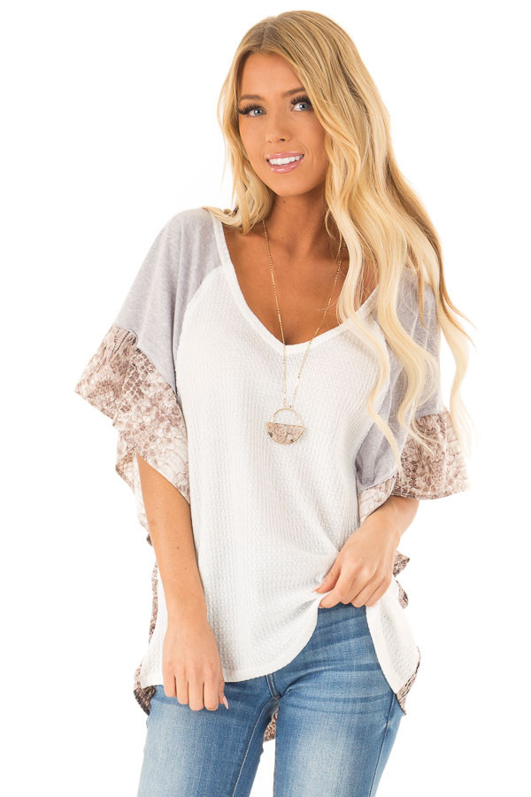 Daisy White Waffle Knit Top with Grey and Snakeskin Contrast front close up