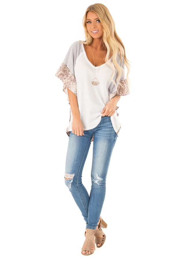 Daisy White Waffle Knit Top with Grey and Snakeskin Contrast front full body