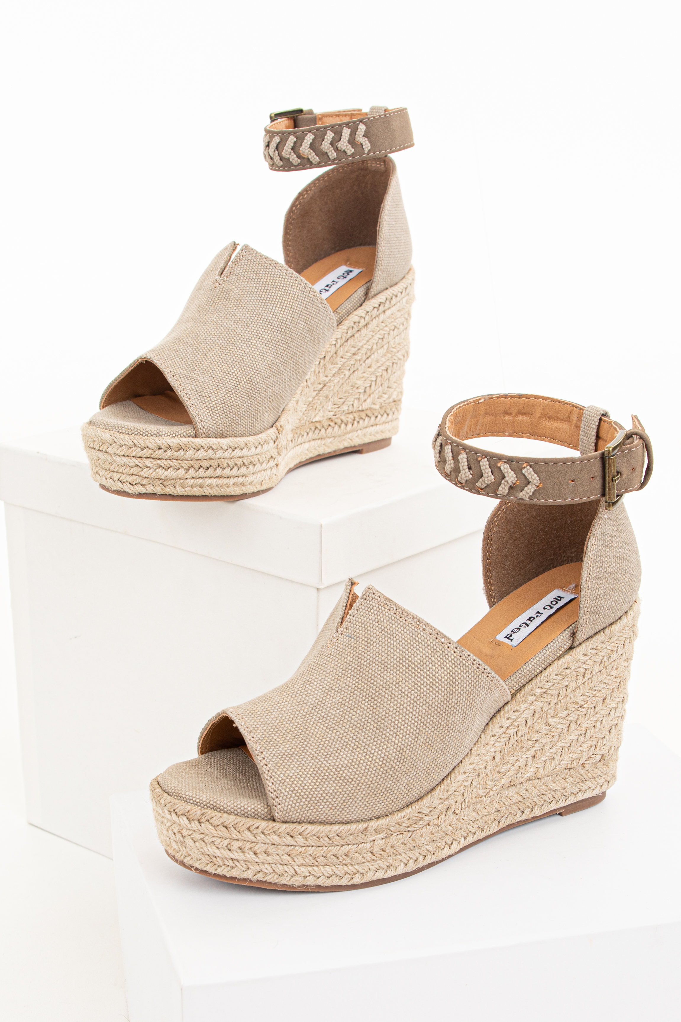 Taupe Open Toed Espadrille Wedge with Ankle Strap