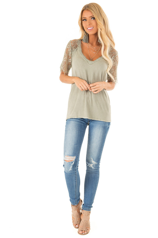 Sage V Neck Top with Sheer Lace Sleeves and Fringe front full body