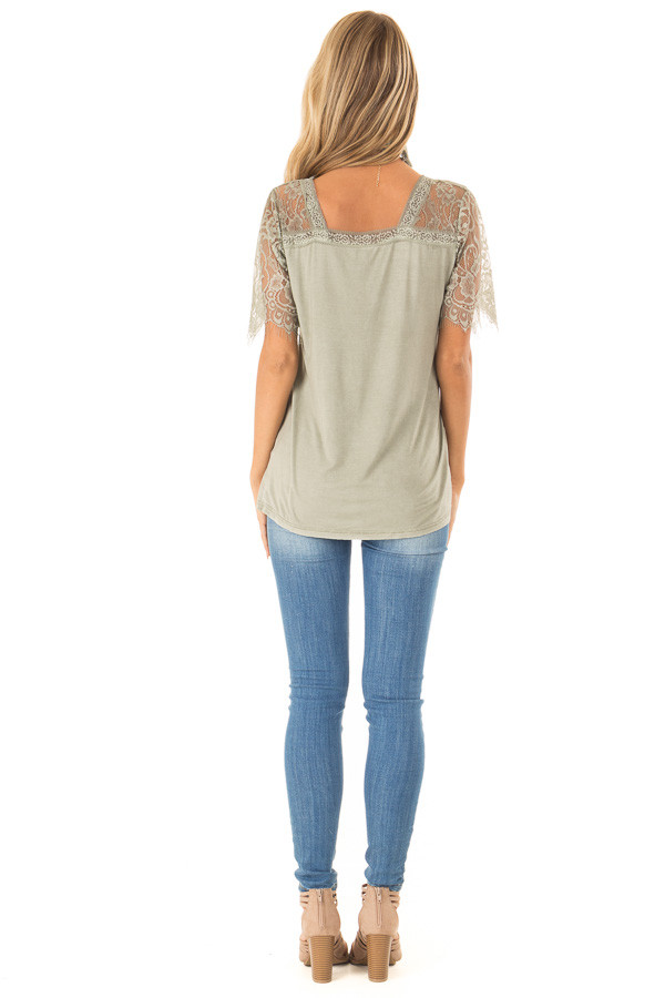Sage V Neck Top with Sheer Lace Sleeves and Fringe back full body
