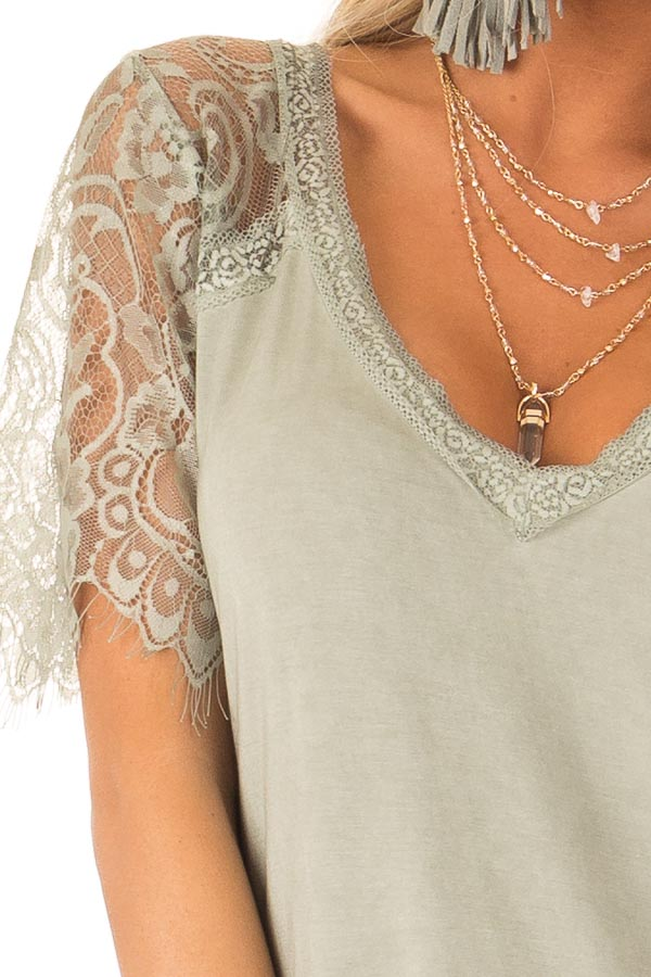 Sage V Neck Top with Sheer Lace Sleeves and Fringe detail