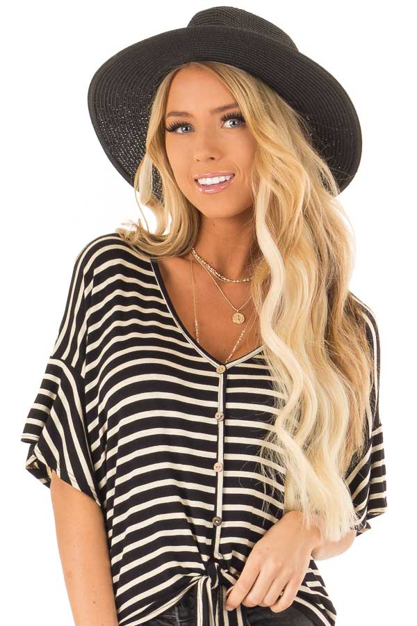 Black Straw Panama Hat with Matching Straw Bow front