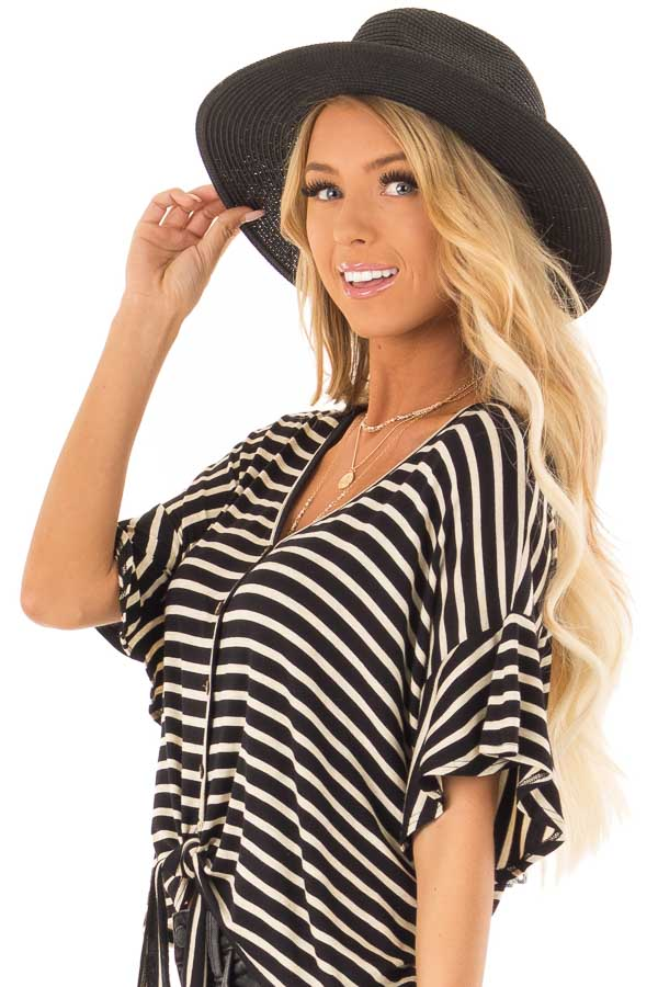 Black Straw Panama Hat with Matching Straw Bow side