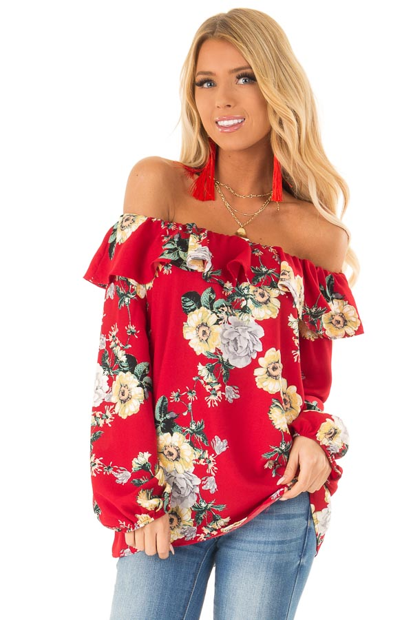 49e5c14aec6f4 Scarlet Floral Print Off the Shoulder Top with Ruffle Detail front close up