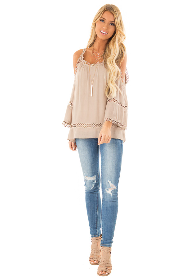 Khaki 3/4 Length Cold Shoulder Top with Lace Details front full body