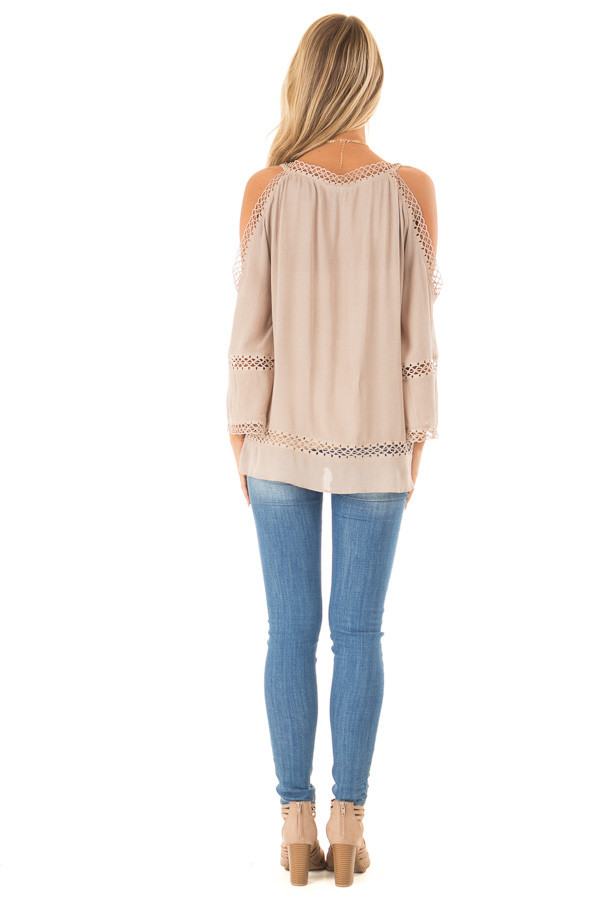 Khaki 3/4 Length Cold Shoulder Top with Lace Details back full body