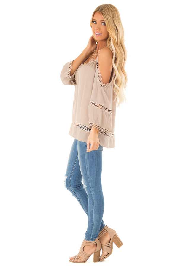 Khaki 3/4 Length Cold Shoulder Top with Lace Details side full body