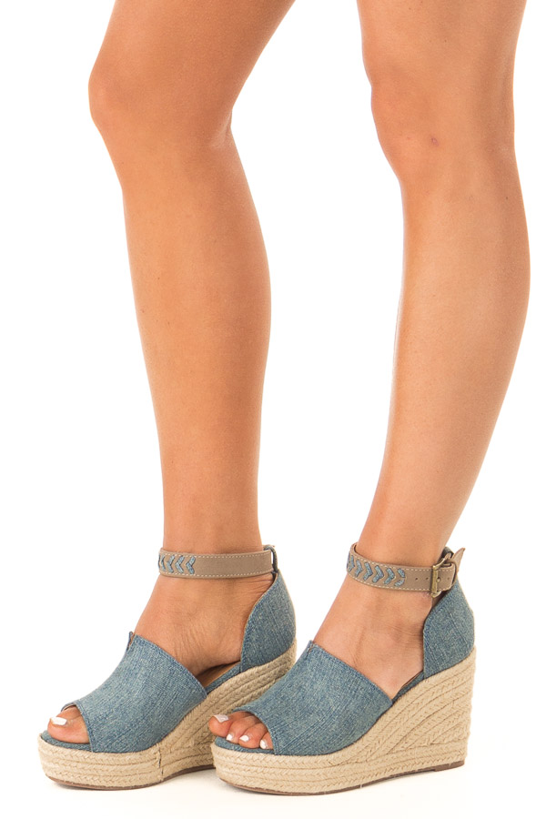 Denim Open Toed Espadrille Wedge with Ankle Strap side view