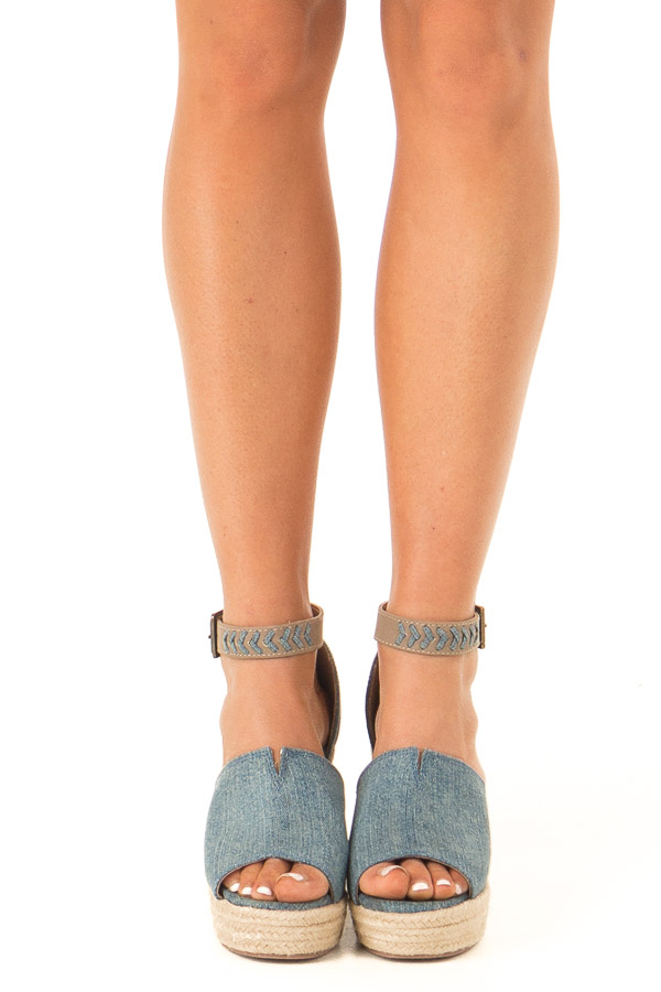 Denim Open Toed Espadrille Wedge with Ankle Strap front view