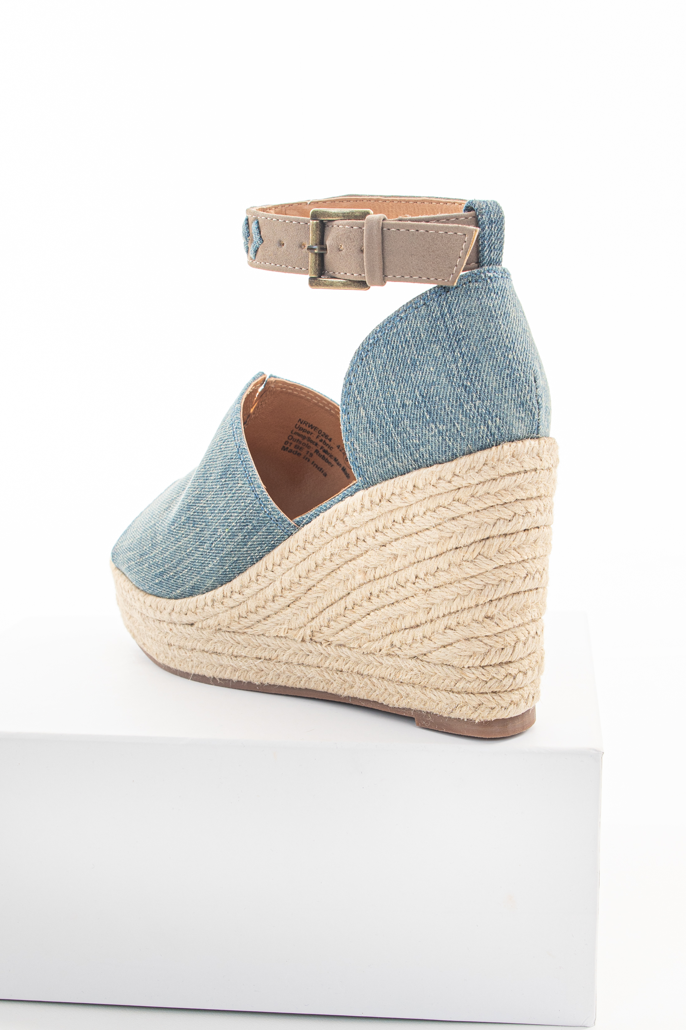 Denim Open Toed Espadrille Wedge with Ankle Strap