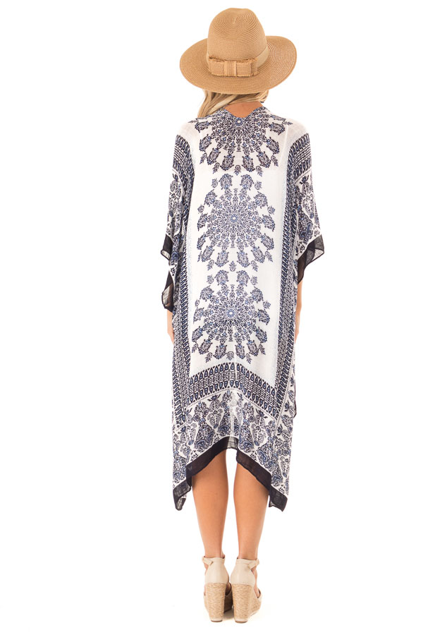 Midnight Blue Multi Print Open Front Kimono with Side Slits back full body