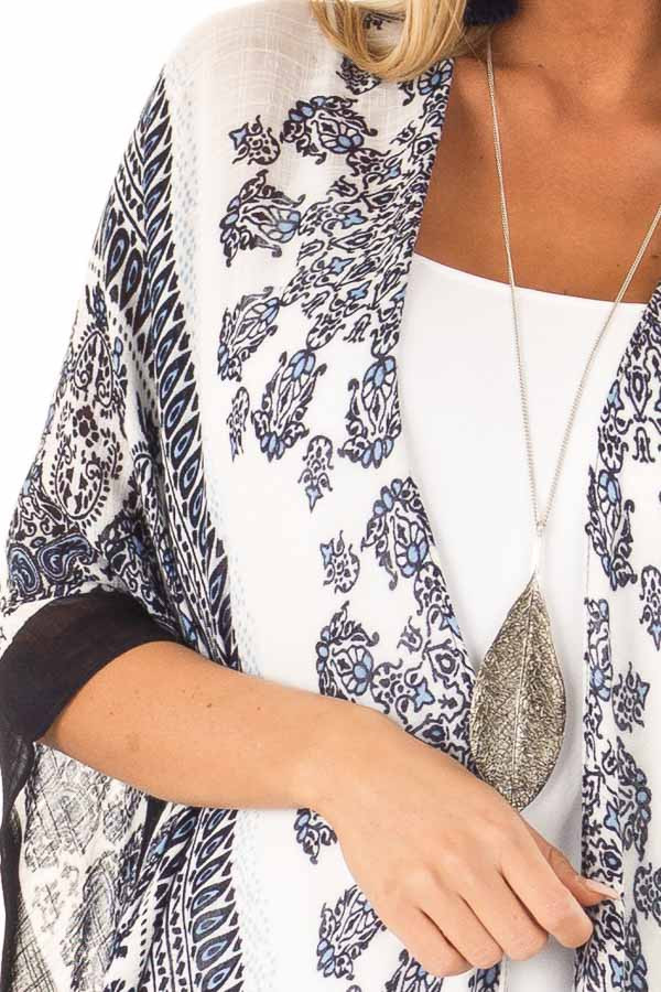 Midnight Blue Multi Print Open Front Kimono with Side Slits detail