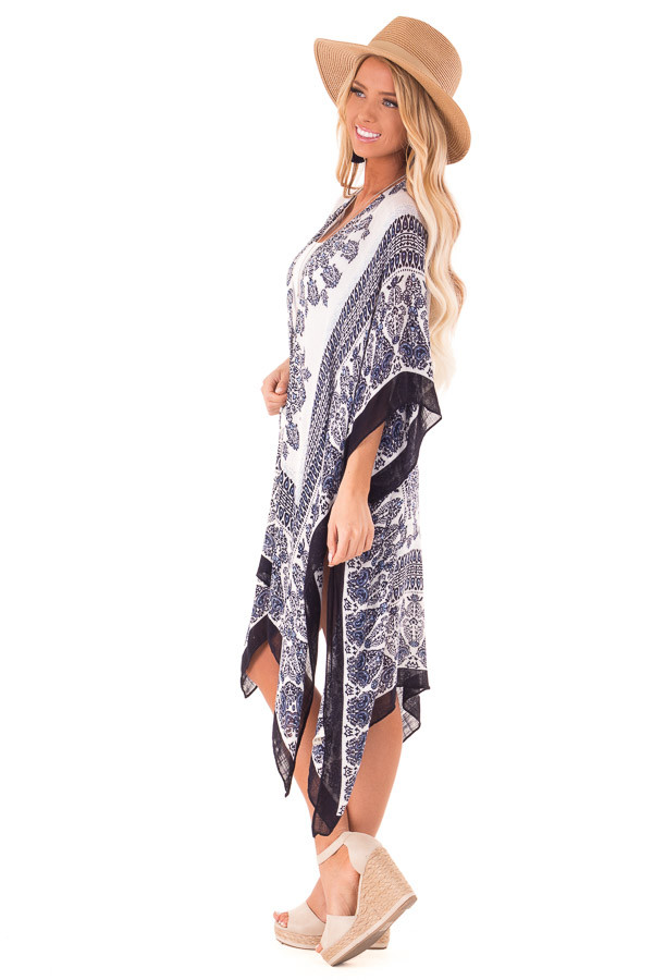 Midnight Blue Multi Print Open Front Kimono with Side Slits side full body