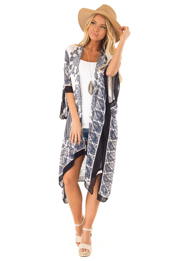 Midnight Blue Multi Print Open Front Kimono with Side Slits front full body