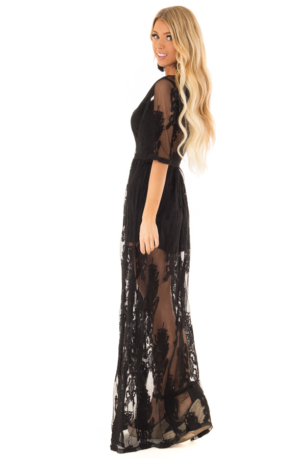 Black Embroidered Mesh Maxi Dress with Deep V Neckline side full body