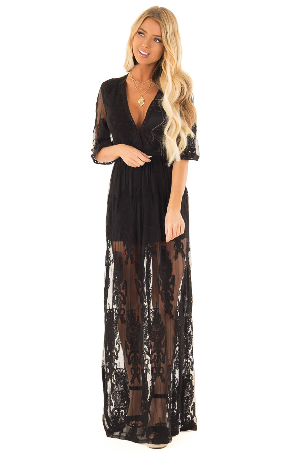 Black Embroidered Mesh Maxi Dress with Deep V Neckline front full body