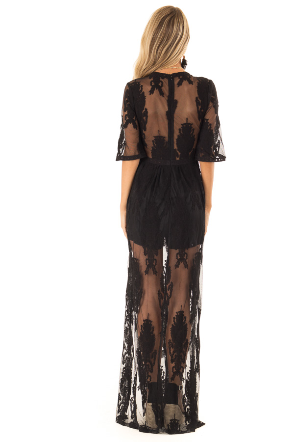 Black Embroidered Mesh Maxi Dress with Deep V Neckline back full body