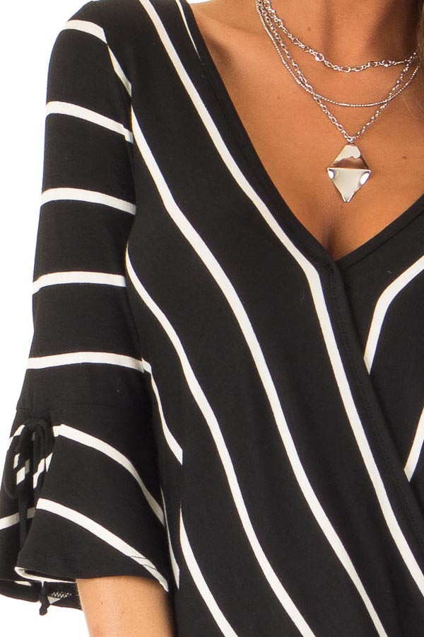 Jet Black and White Stripe Surplice Top with Bell Sleeves detail