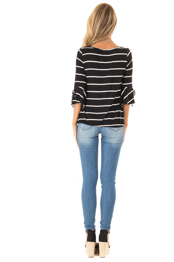 Jet Black and White Stripe Surplice Top with Bell Sleeves back full body