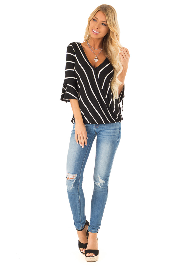Jet Black and White Stripe Surplice Top with Bell Sleeves front full body