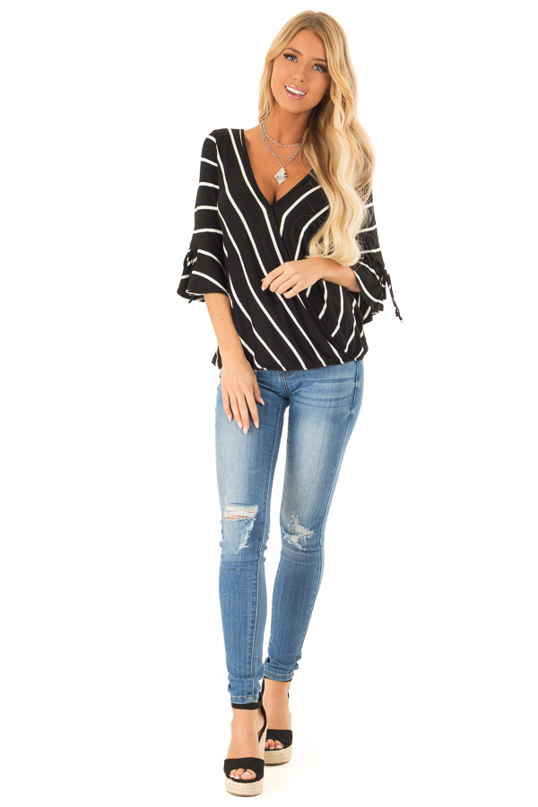 8bc7a5f18e1540 Jet Black and White Stripe Surplice Top with Bell Sleeves front full body