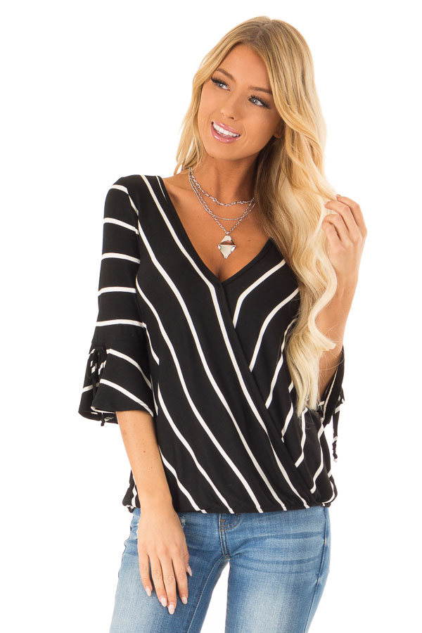 b31b8200a532 Jet Black and White Stripe Surplice Top with Bell Sleeves front close up