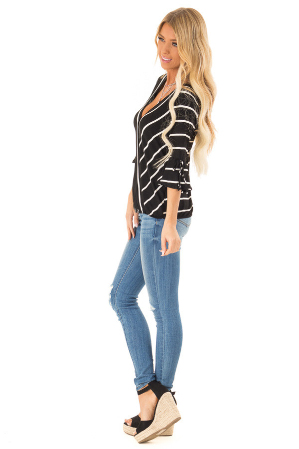 Jet Black and White Stripe Surplice Top with Bell Sleeves side full body