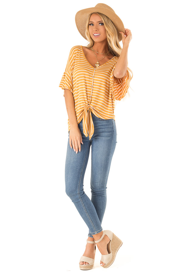 Mustard and Ivory Striped Button Up Top with Ruffle Sleeves front full body