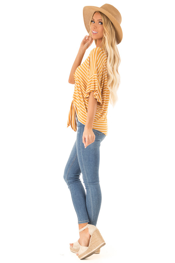 Mustard and Ivory Striped Button Up Top with Ruffle Sleeves side full body