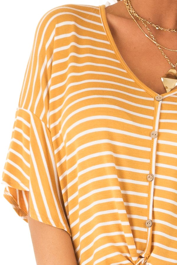 Mustard and Ivory Striped Button Up Top with Ruffle Sleeves detail